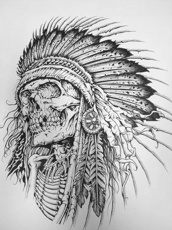 Черепа и капы. Индейская тематика