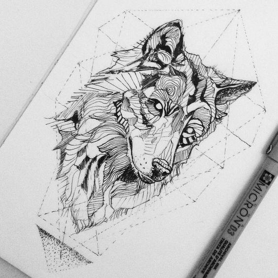 Эскиз для тату волк в стиле геометрия