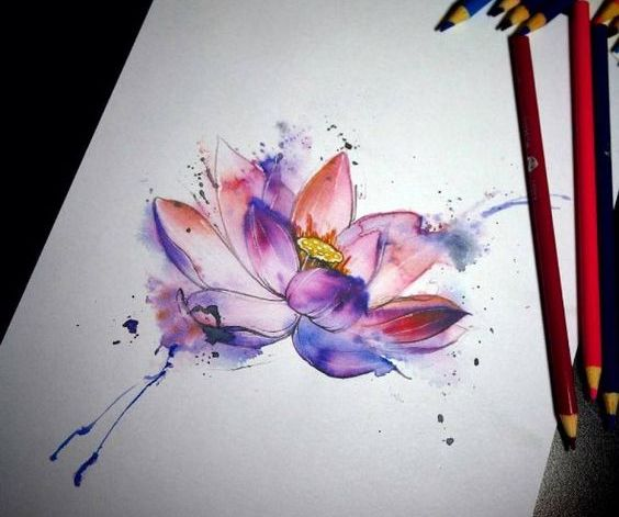 Эскиз для тату Цветок в стиле акварель