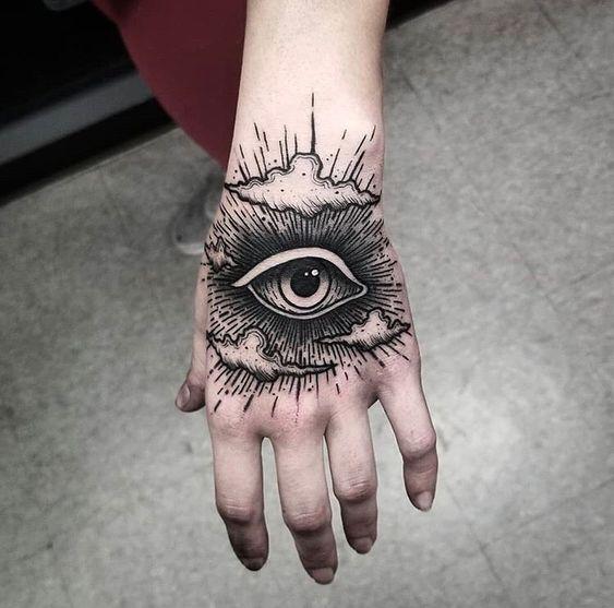 Тату глаз у девушки на кисти руки