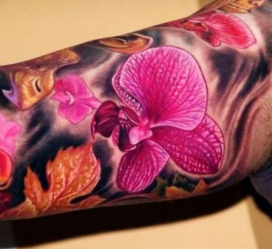 Тату орхидея на руке