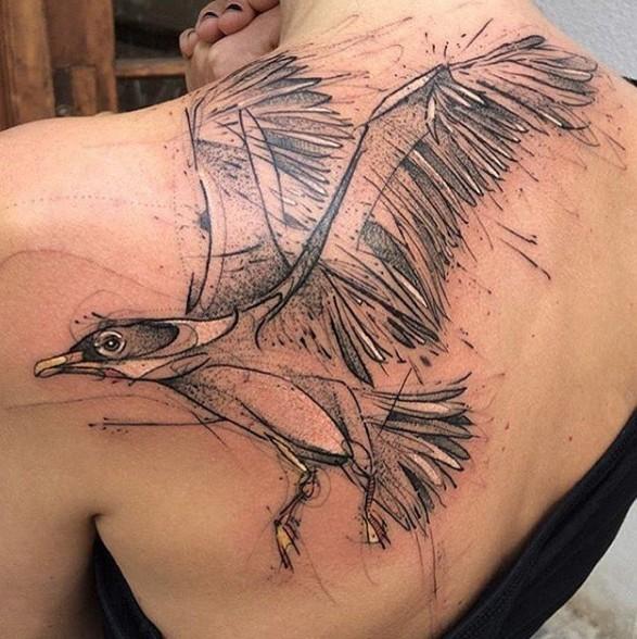 Тату чайка на пол спины