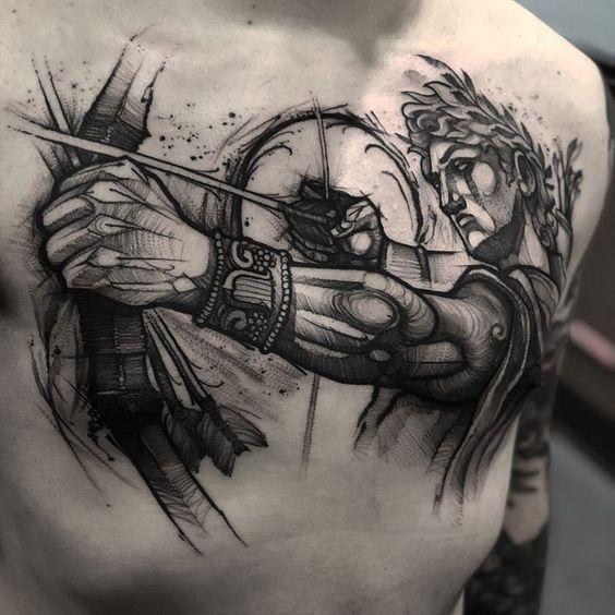 Тату стрелец на груди у мужчины