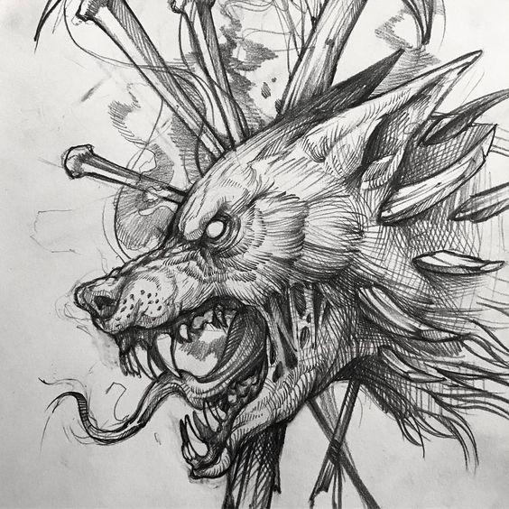 Волк тату эскиз