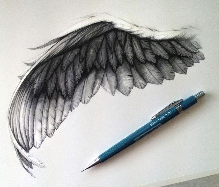 Эскиз тату крылья