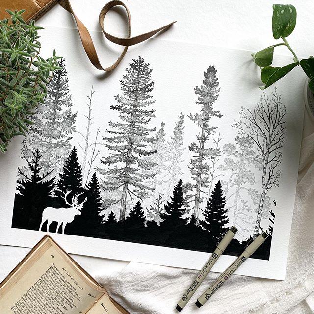 Эскиз тату лес